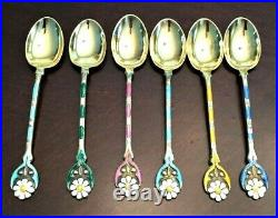 STUNNING Vtg Sterling Silver Enamel 6 Spoons Set Barker Bros Birmingham 1937 Box