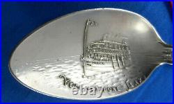 Scarce Yellowstone Lake Steamer Zillah Figural Antique Sterling Souvenir Spoon