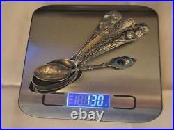 Scrap Lot of 7 Souvenir Spoons Scrap 925 Sterling Silver Weight 131 grams