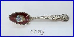 Seal of Kansas Missouri Sterling Silver and Enamel Souvenir Spoon (#1341)