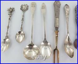 Selection Vintage Continetal & Sterling Silver Spoons / Souvenir Spoons Etc