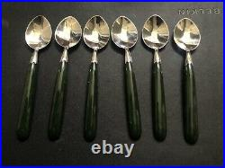 Set Of 6 Vintage New Zealand Green Stone Souvenir Sterling Spoons
