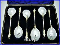 Set of 6 English Sterling Silver Apostle Spoon Made 1876-7 with Light Gold Wash