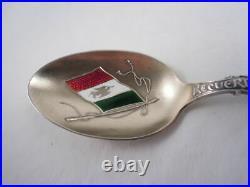 Shepard Sterling Silver Mexico Souvenir Spoon Enamel Flag Bowl Gorgeous
