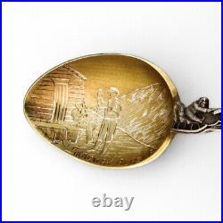 Skagway Alaska Souvenir Spoon Gilt Scenic Bowl Mayer Sterling Silver
