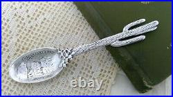 Sterling. 925 Silver Souvenir Spoon Casa Grande Ruins Arizona Cactus Handle