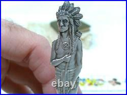 Sterling. 925 Silver Souvenir Spoon Helena Montana Full Indian Handle