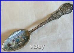 Sterling Silver Enamel Souvenir Spoon Black Americana Cotton Picking New Orleans