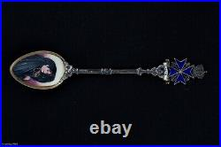 Sterling Silver Enamel Spoon Malta Girl/woman 800