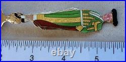 Sterling Souvenir Spoon Enamel Full Figural Matador