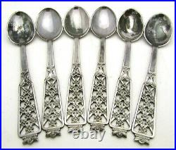 Sweden Flowers Souvenir Collector Spoon Cesons Sterling Silver Set of 6 with case