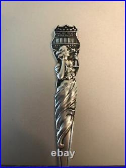 Tri-State Telephone & Telegraph Co Sterling Souvenir Spoon w Art Nouveau Woman