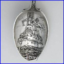 US Army Navy Battleship Souvenir Spoon Gorham Sterling Mono 1903