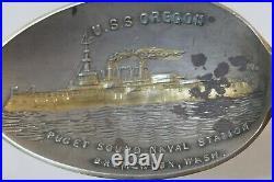 USS Oregon Sterling Silver Puget Sound Naval Station Souvenir Spoon-Bremerton WA