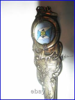 USS Pretoria Hamburg America Line Cruise Ship Sterling Souvenir Spoon enamel