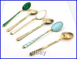 Vintage Antique ELA Denmark Sterling Silver 6 Guilloche Enamel Coffee Spoons