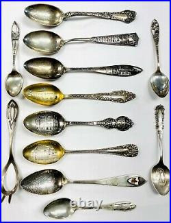 Vintage Antique Sterling SILVER Souvenir Spoon Collection Lot 12 Spoons 5 ozt