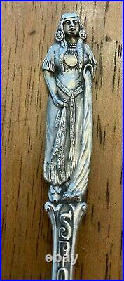 Vintage MB Sterling Spokane Washington Monroe St. Bridge Spoon Indian Female