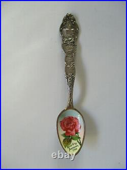 Vintage Rose City Portland Oregon Sterling Enamel Painted Souvenir Spoon RARE