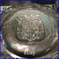 Vintage Sterling Silver 925, PANAMA Crest Wall Charger Coat of Arms