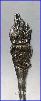 Vintage Sterling Silver Merry Christmas Santa Spoon