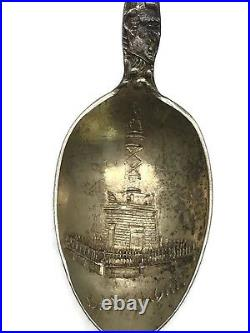 Vintage Sterling Silver Souvenir Spoon Baltimore Monument Crab Turtle J. Armiger