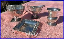 Vintage Sterling Silver Souvenir Spoons Cup Sugar Creamer 520g Scrap or Not Lot