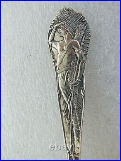 Vintage Sterling Silver Souvenir spoon Native American Indian Catskill RV Winkle