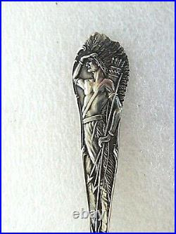 Vintage Sterling Silver Souvenir spoon Native American Indian Full Fig Catskill