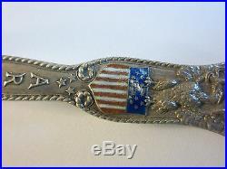 Vintage c. 1875 Gorham Army & Navy Enamel Sterling Silver Souvenir Spoon